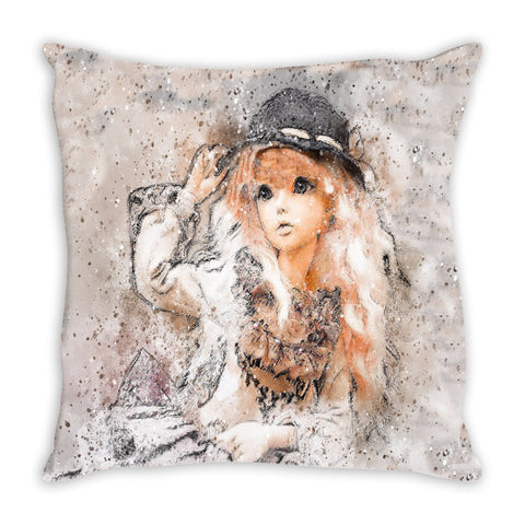 Throw Pillow.  Beautiful Watercolor Girl Throw Pillow.  Matching Canvas Wall Art Available.
