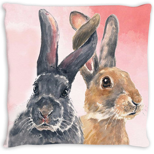 Throw Pillow.  Watercolor Bunnies
