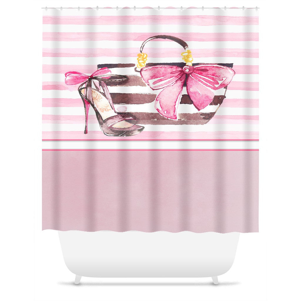 Shower Curtain.  Pink and White Watercolor Striped Purse and Shoe
