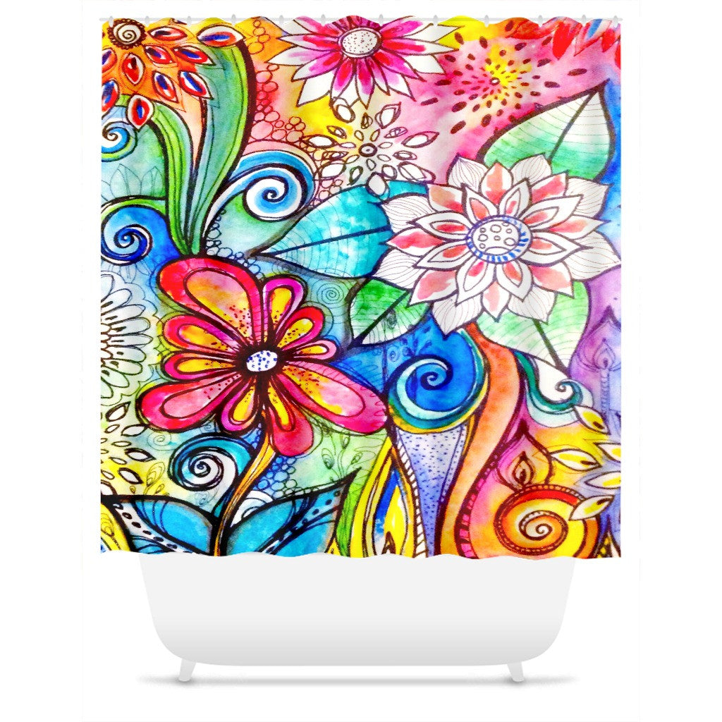 Shower Curtain.  Beautiful Multi-Colored Floral Shower Curtain.
