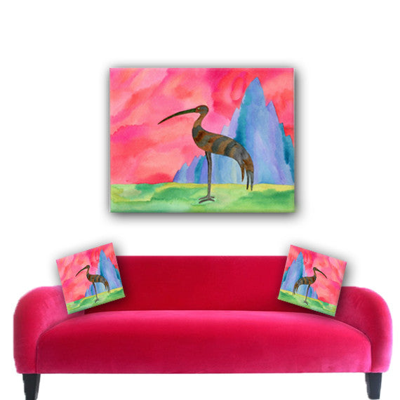 Watercolor Canvas Wall Art. Vibrant Colored Absract Bird Canvas ArtMatching Pillow Sold Serperately
