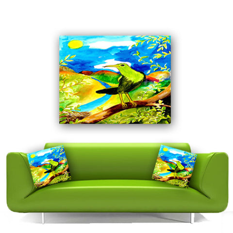 Watercolor Canvas Wall Art.  Vibrantly Colored Bird Canvas Art