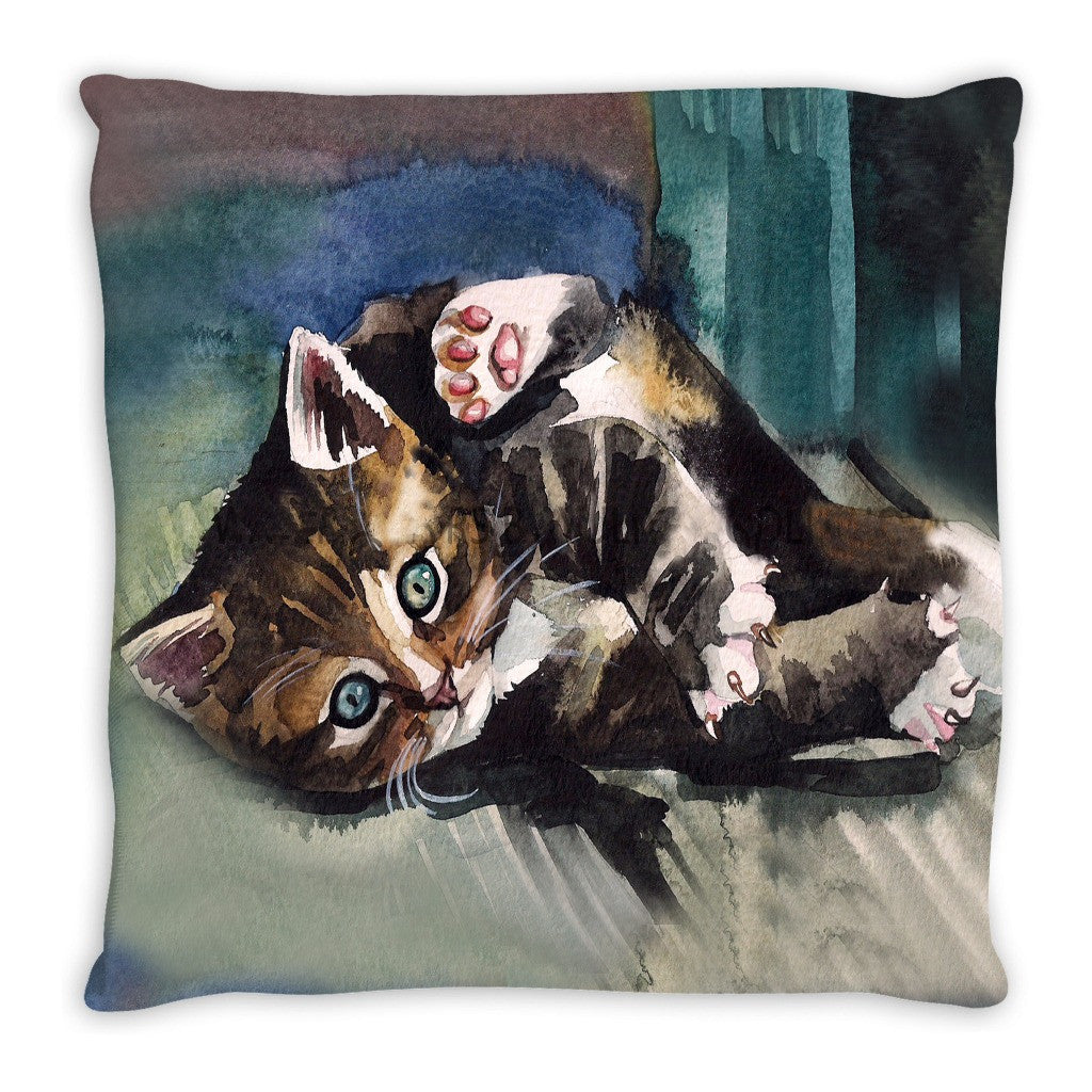 Throw Pillow.  Adorable Watercolor Kitten