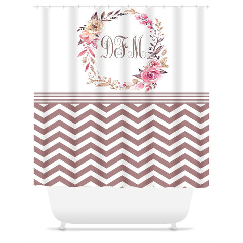 Shower Curtain. Personalized Shower Curtain. Taupe Chevron Floral Wreath.