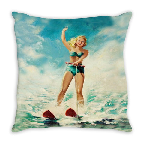 Throw Pillow. Vintage Water Skier Throw Pillow