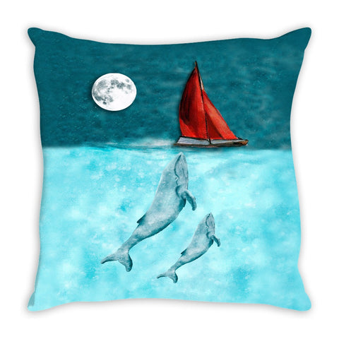 Throw Pillow. Watercolor Whales at Sea