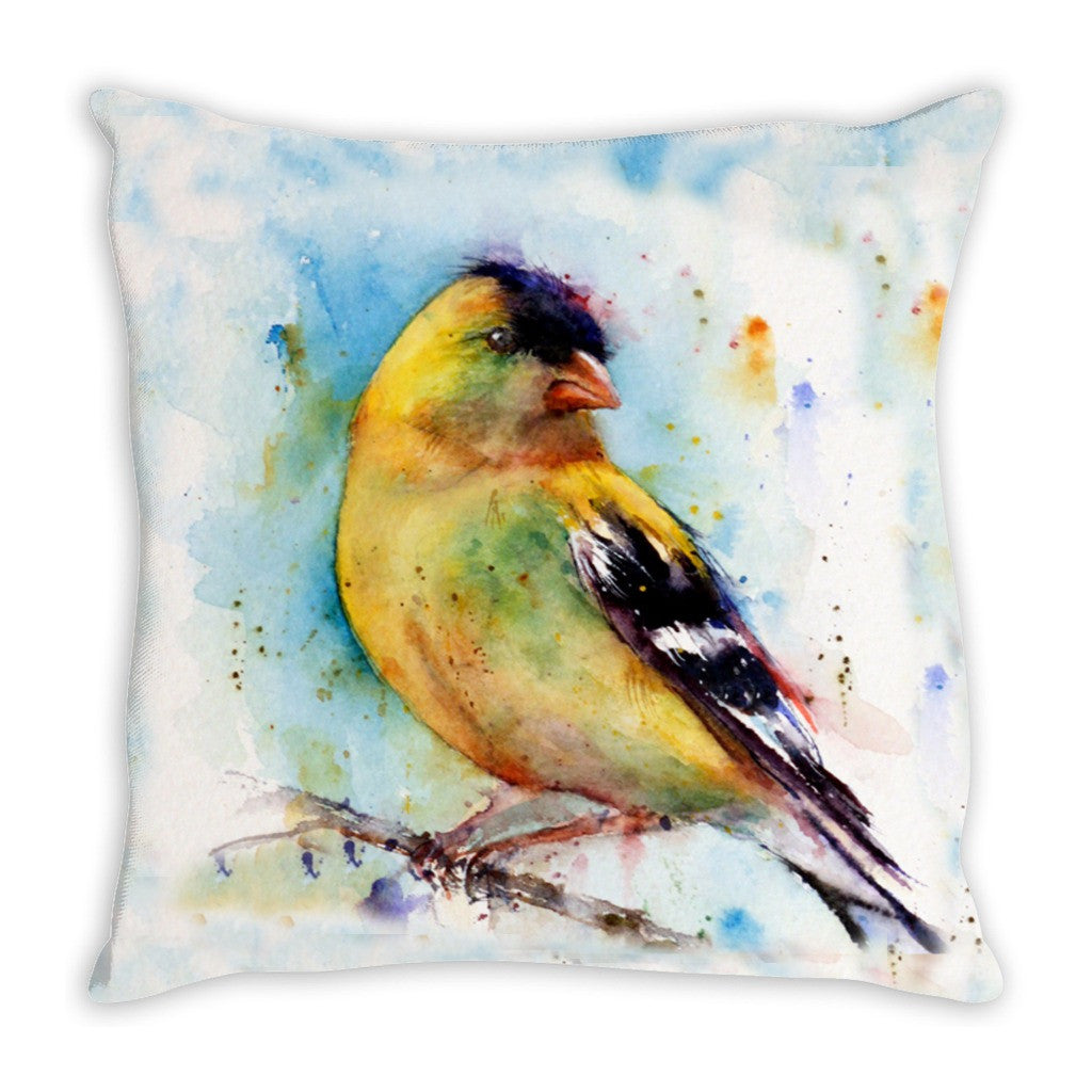 Throw Pillow.  Beautiful Watercolor Bird Throw Pillow