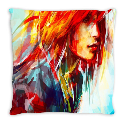 Throw Pillow.  Abstract Watercolor Redhead Throw Pillow