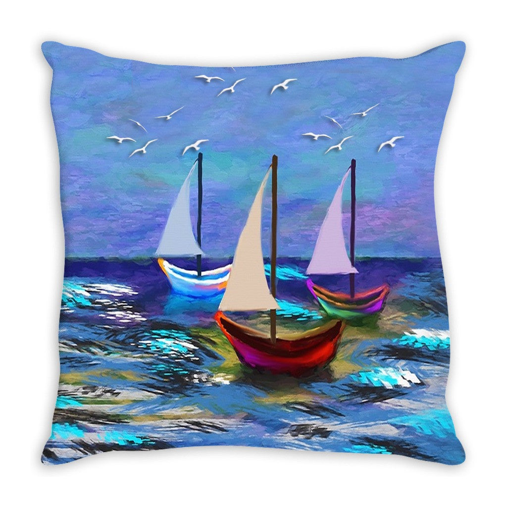 Throw Pillow.  Beautiful Watercolor Sailboat Throw Pillow