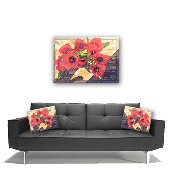 Canvas Wall Art.  Beautiful Abstract Floral Canvas Art. Matching Throw Pillow Sold Seperately
