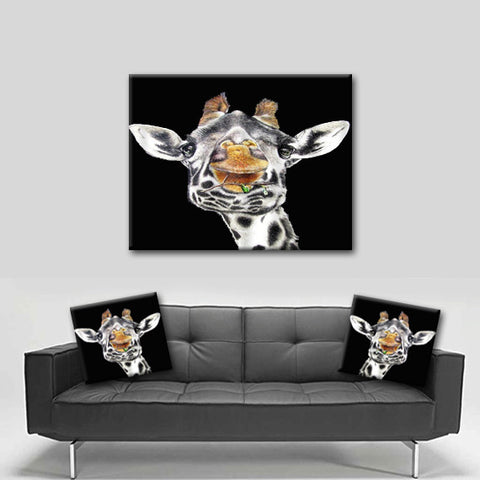 Watercolor Canvas Wall Art.  Beautiful Giraffe Canvas Art.  Matching Throw Pillow Sold Seperately