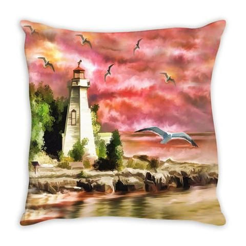 Throw Pillow.  Beautiful Watercolor Lighthouse Throw Pillow. Matching Canvas Wall Art Available