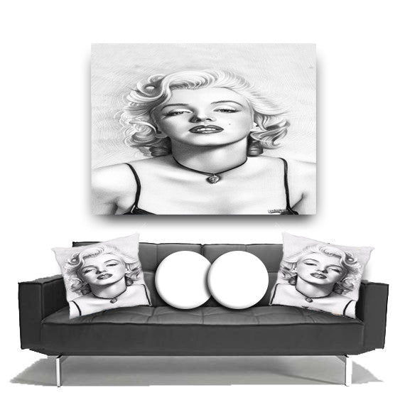 Throw Pillow.  Beautiful Marilyn Monroe Throw Pillow. Matching Canvas Wall Art Available