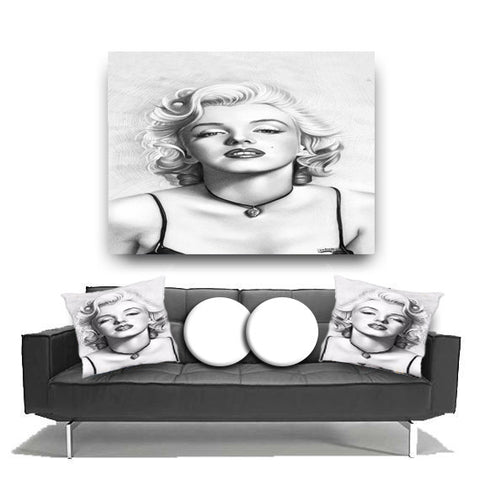 Canvas Wall Art. Beautiful Marilyn Monroe Canvas. Matching Throw Pillow Sold Serperately