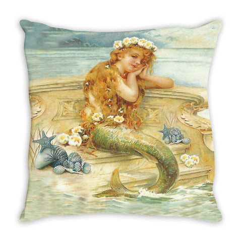 Throw Pillow.  Beautiful Vintage Watercolor Mermaid Throw Pillow.  Matching Canvas Wall Art Available.
