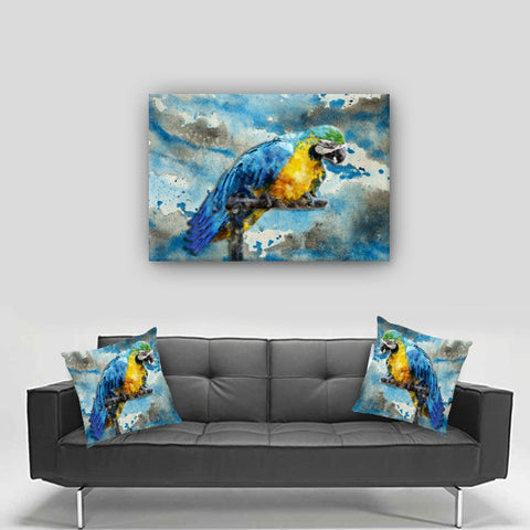 Canvas Art. Beautiful Watercolor Parrot Canvas. Matching Throw Pillow Available.  Sold Seperately