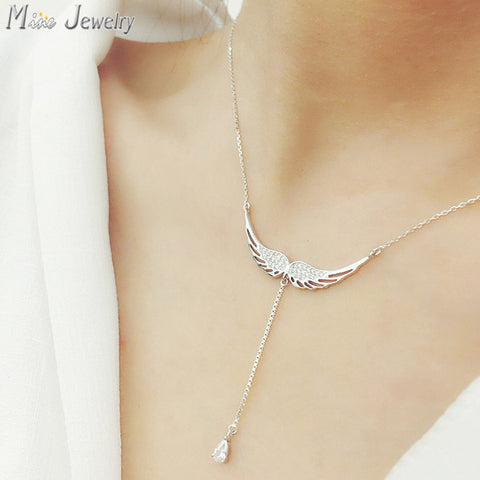 925 Sterling Silver Necklaces Zircon Angel Wings Necklace.