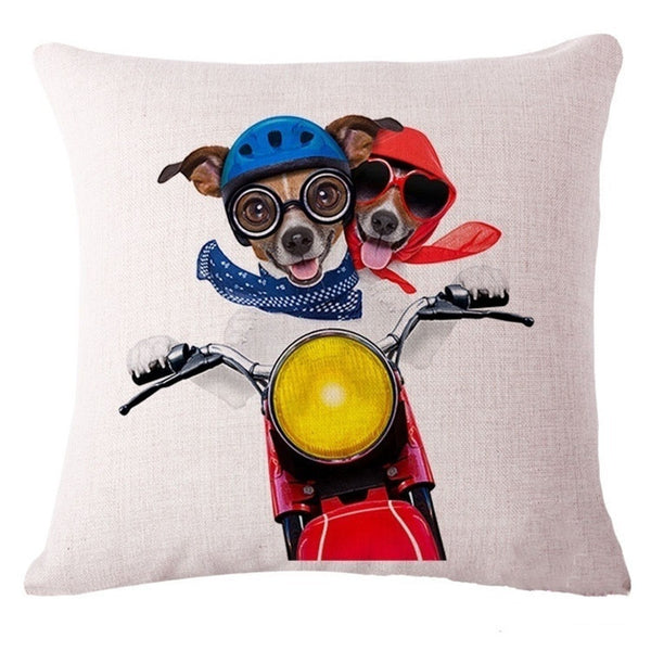 18 Inches Fashion Cute Dog Cotton Linen Decorative Pillow Case