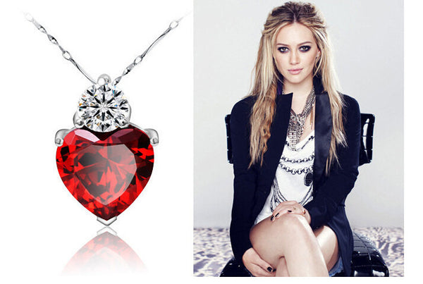 100% 925 Sterling Silver Fashion Red Heart Neclace