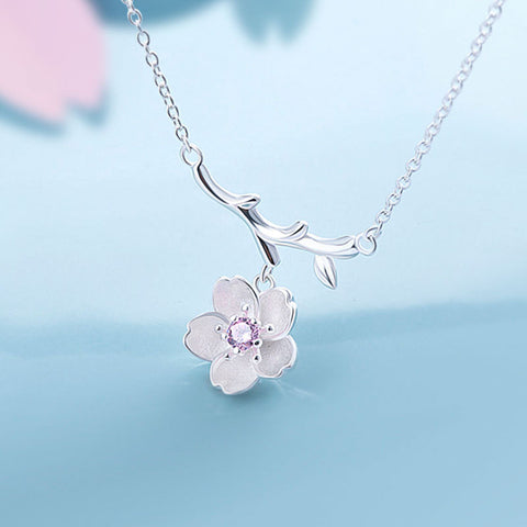 925 Sterling Silver Cherry Blossom Flower Necklace