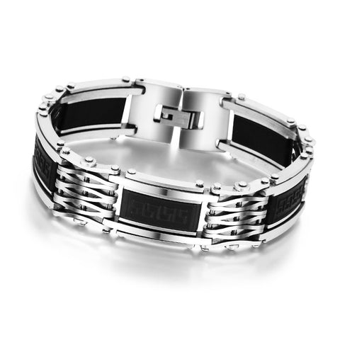Mens Stainless Steel and Stone Bracelet