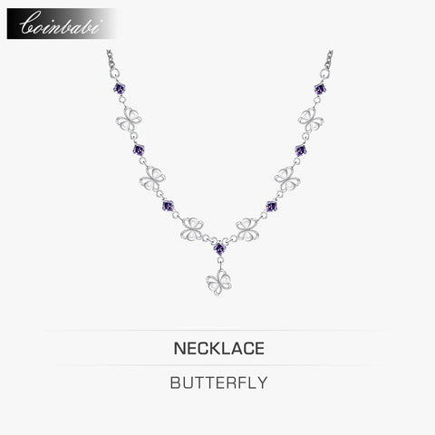 Butterfly Necklace, 925 Sterling silver & Zirconia Necklace