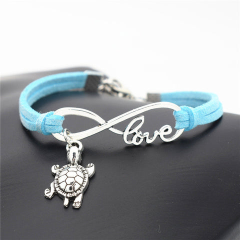 Cute Silver Sea Turtle Leather Charm Bracelet with love