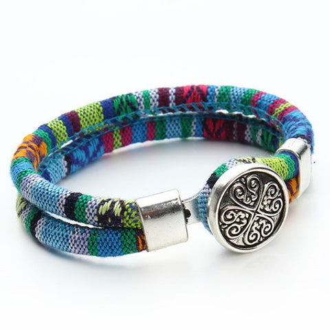 New Bohemian Bracelets. Cotton Cords Bracelet. Tibetan Silver Clovers Snap Button