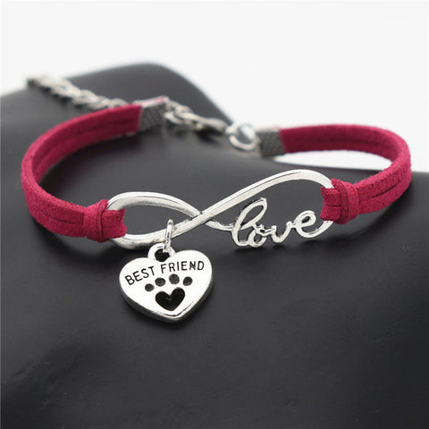 Cute Pets Dog's Paw Heart Charm Bracelet