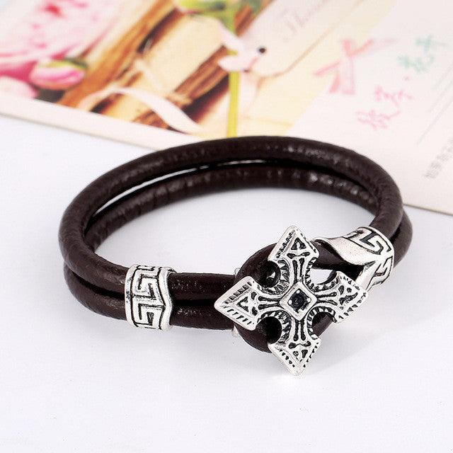 Vintage Mens Double Leather Cross Bracelet