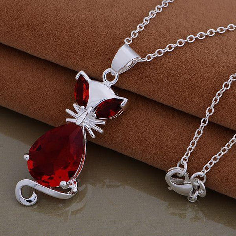 Red Crystal Cat Necklace