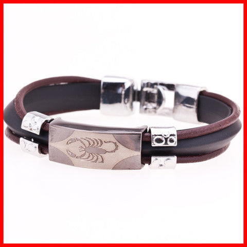 Mens Stainless Steel Scorpion Bracelet. Leather and Stainless Steel, Mens Stainless Steel bracelet