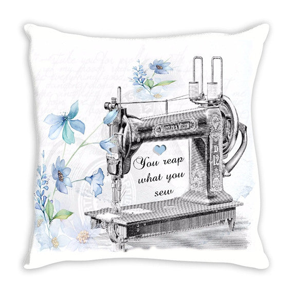 Throw Pillow.  Beautiful Vintage Reap What You Sew Throw Pillow