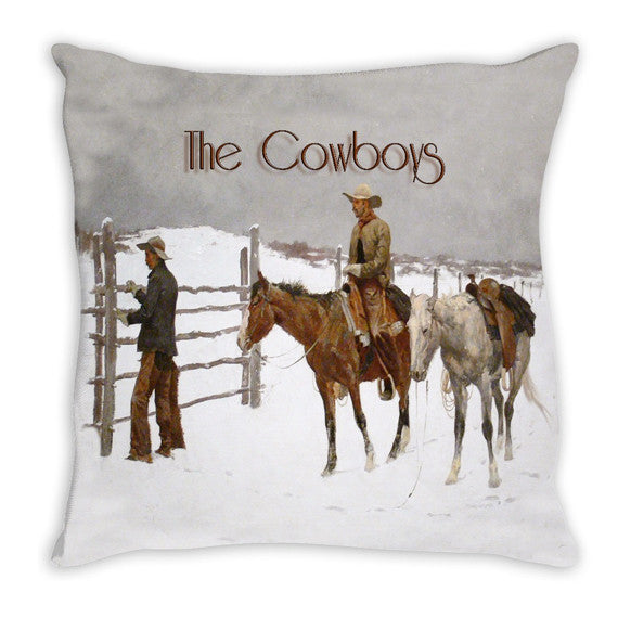 Throw Pillow.  Vintage Cowboys Throw Pillow
