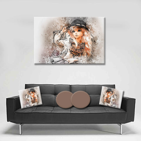 Canvas Wall Art. Beautiful Absract Girl Canvas Art. Matching Throw Pillow Sold Seperately