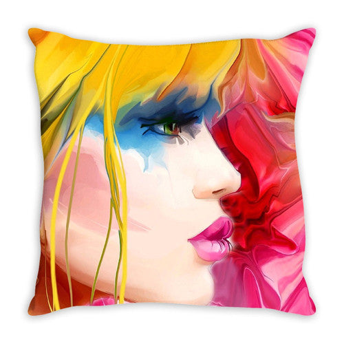 Throw Pillow. Beautiful Watercolor Woman Throw Pillow. Matching Canvas Wall Art Available. Sold Seperately