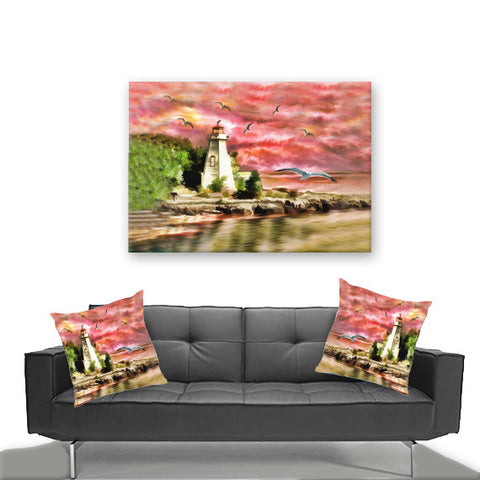 Watercolor Canvas Wall Art. Beautiful Watercolor Lighhouse. Matching Throw Pillow Sold Serperately