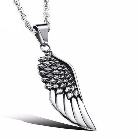 Unisex Mens/Womens Stainless Steel Angel Wing Necklace