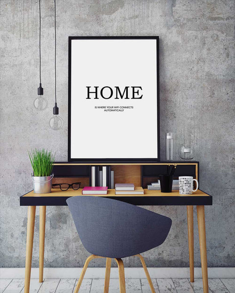 Poster with home text on table