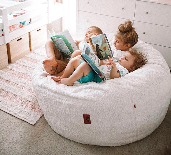Kids on Faux Fur Beanbag