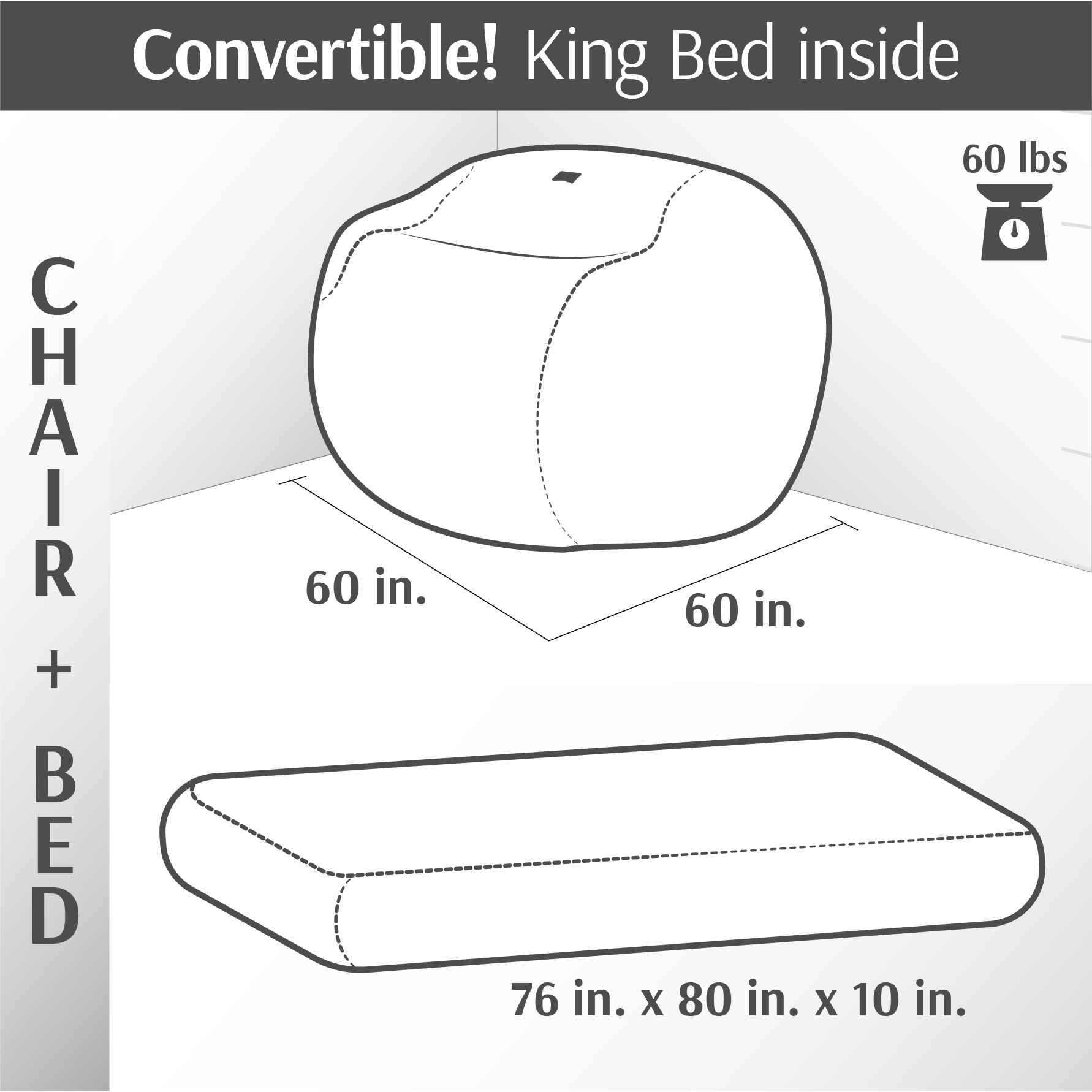 Convertible Bean Bag - King Convertible Bean Bag - Plush Microsuede