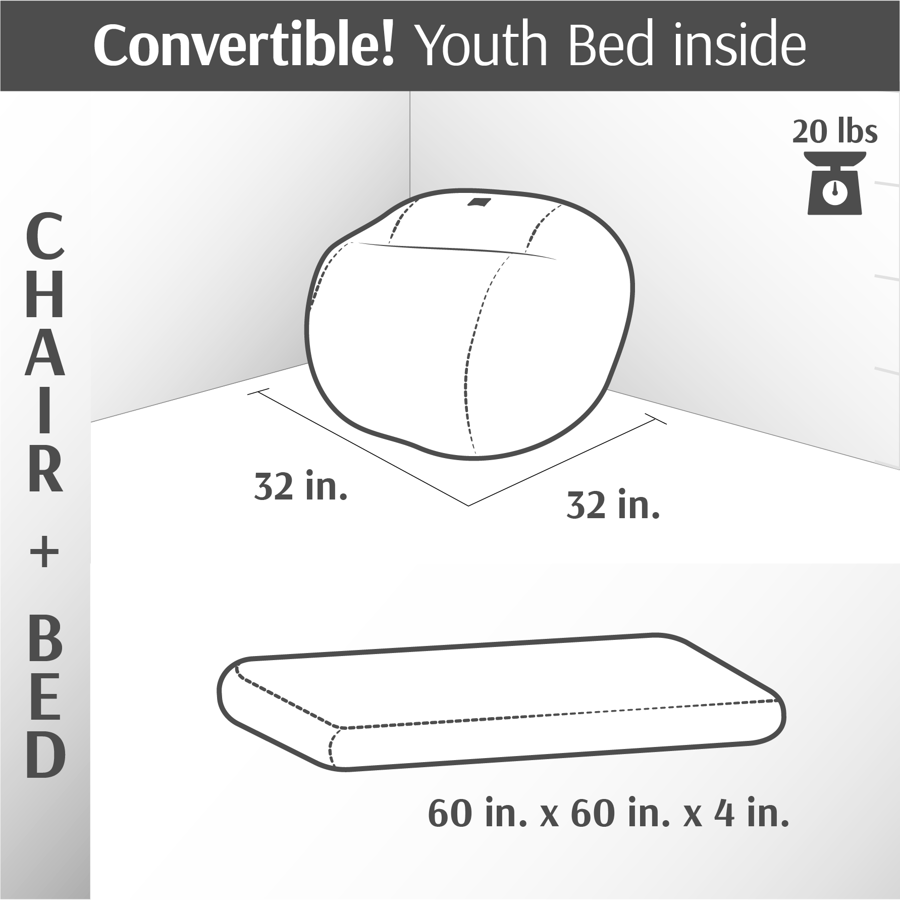 Convertible Bean Bag - Youth Convertible Bean Bag - Terry Corduroy