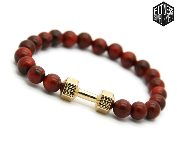 Fit Life Red Wood Dumbbell Bracelet