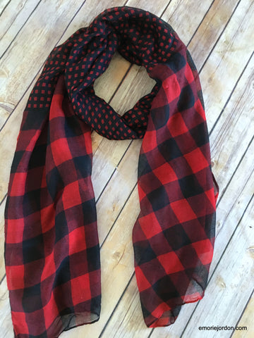 Gingham Plaid Duo-Print Scarf
