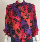 Vintage: Fun Abstract Print Blouse