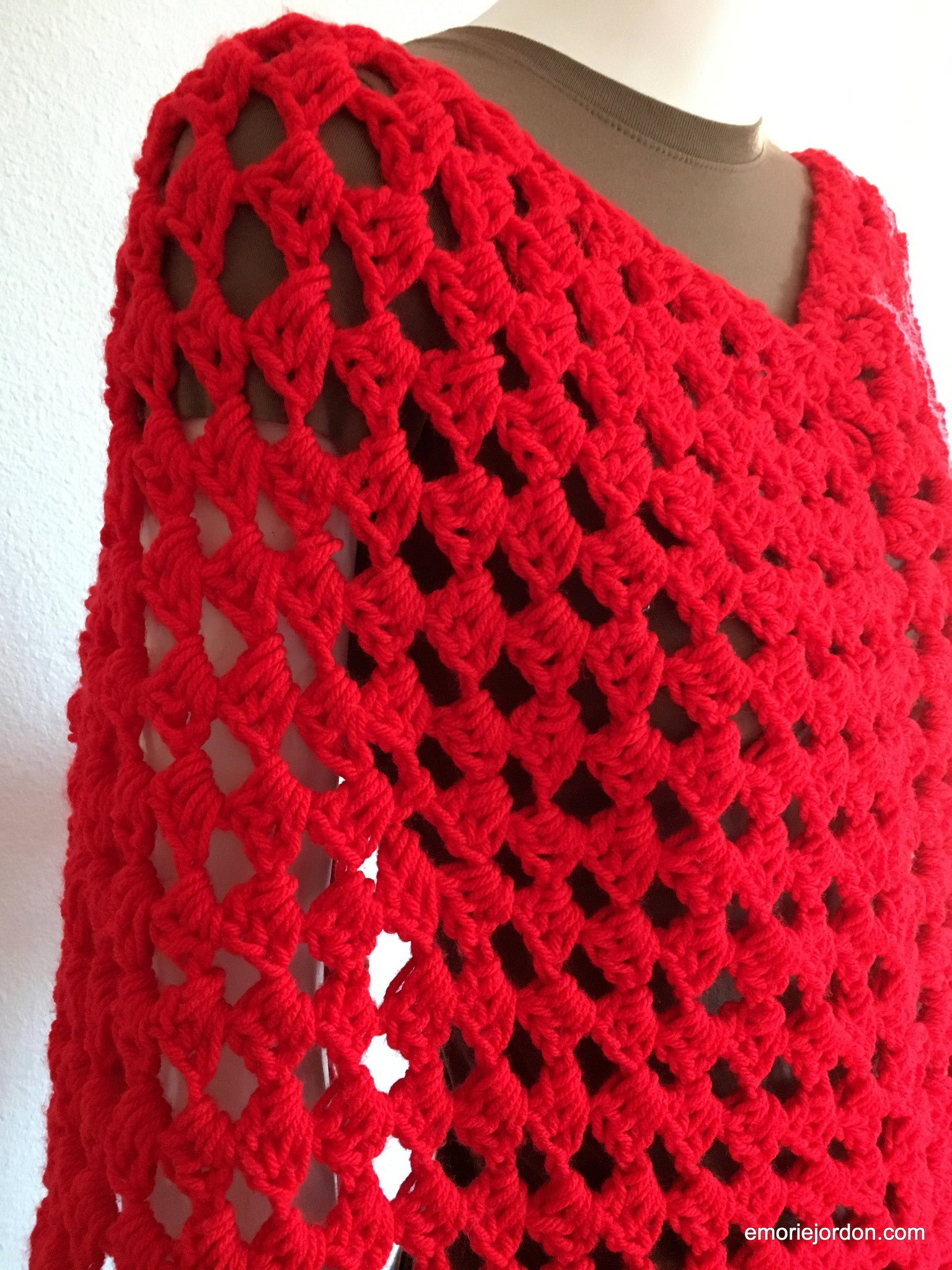 Vintage: Handmade Lady In Red Shawl