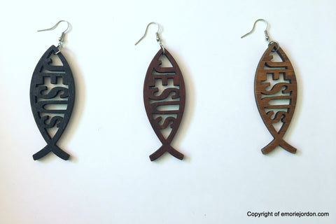 F.I.S.H Jesus Wooden Earrings