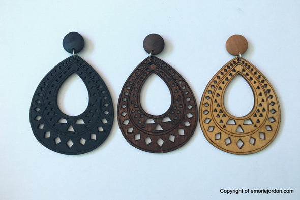 Raindrop Tribal Wooden Earrings