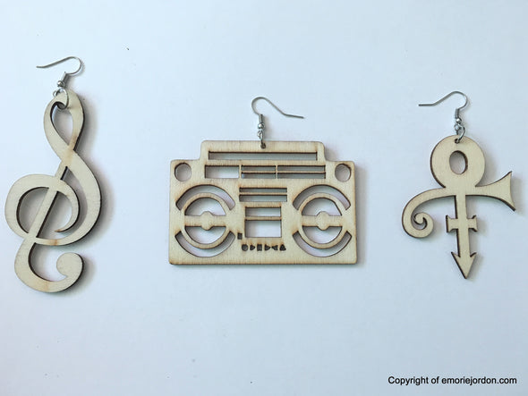 Music Inspired Wooden Earrings