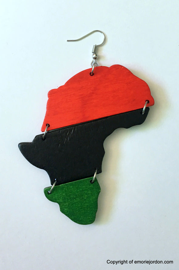 Africa RGB Wooden Earrings